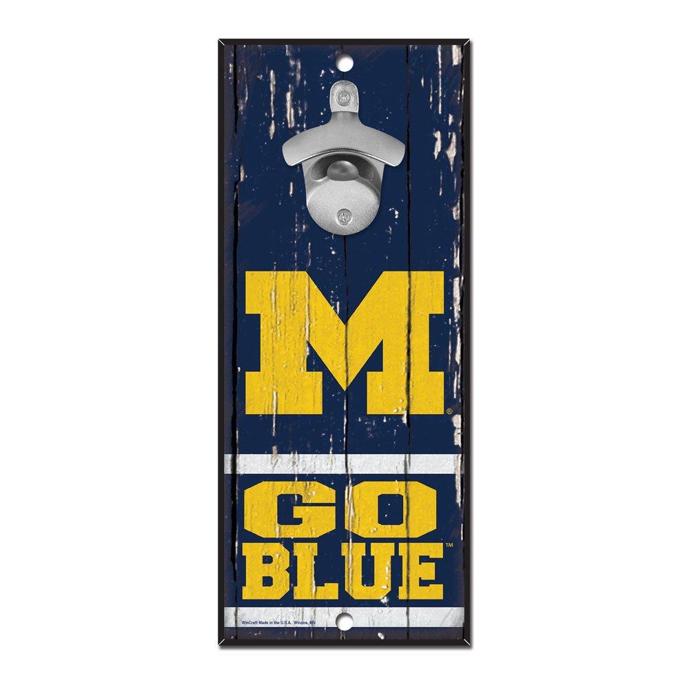 WinCraft NCAA Michigan Wolverines 5x11 Wall Hanging Bottle Opener,Blue,5''x11''