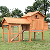 PawHut 82-inch Deluxe Backyard Wood Chicken Coop Poultry Habitats Rabbit Hutch House with Run and Nesting Box