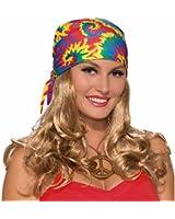 Forum Novelties Women's Hippie Head Scarf W Wig, Blonde, Standard