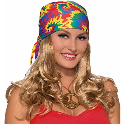 Forum Novelties Womens Hippie Head Scarf W Wig, Blonde, Standard