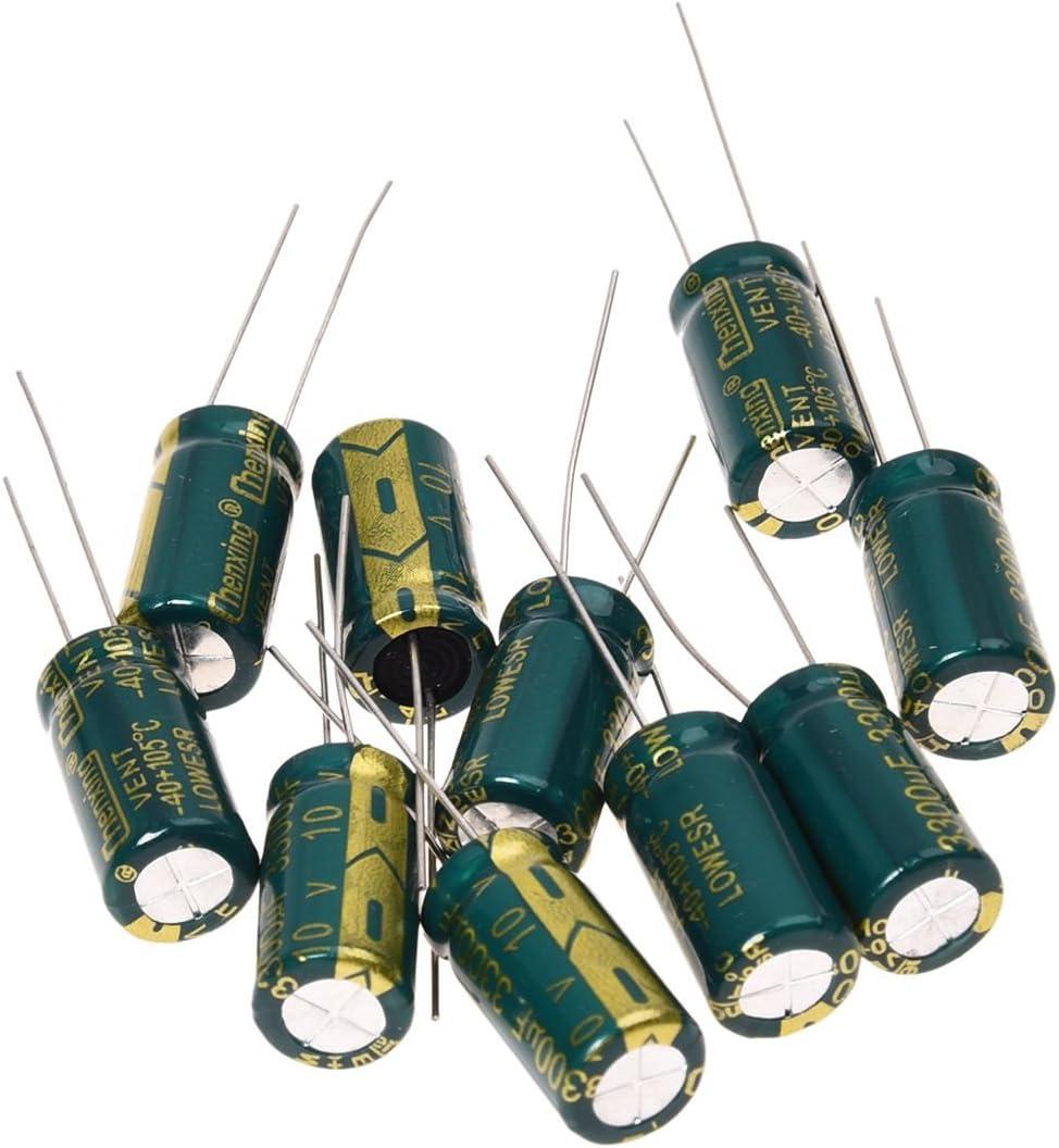 Condensador - SODIAL(R) 10pzs 10V 3300UF Condensador electrolitico radial de placa madre