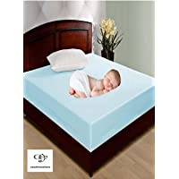 UNIVERSALSALE Babycare Waterproof Non-Woven Double Bed Mattress Protector Cover with Zip Closure (Blue, 6x6 ft)
