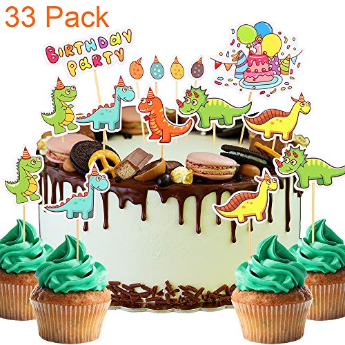 33 Pack Cute Cartoon Dinosaur Themed Cupcake Toppers Lovely TyrannosaurusTriceratops and Stegosaurus For Baby Shower Kids Birthday Party Toothpick Decorations.
