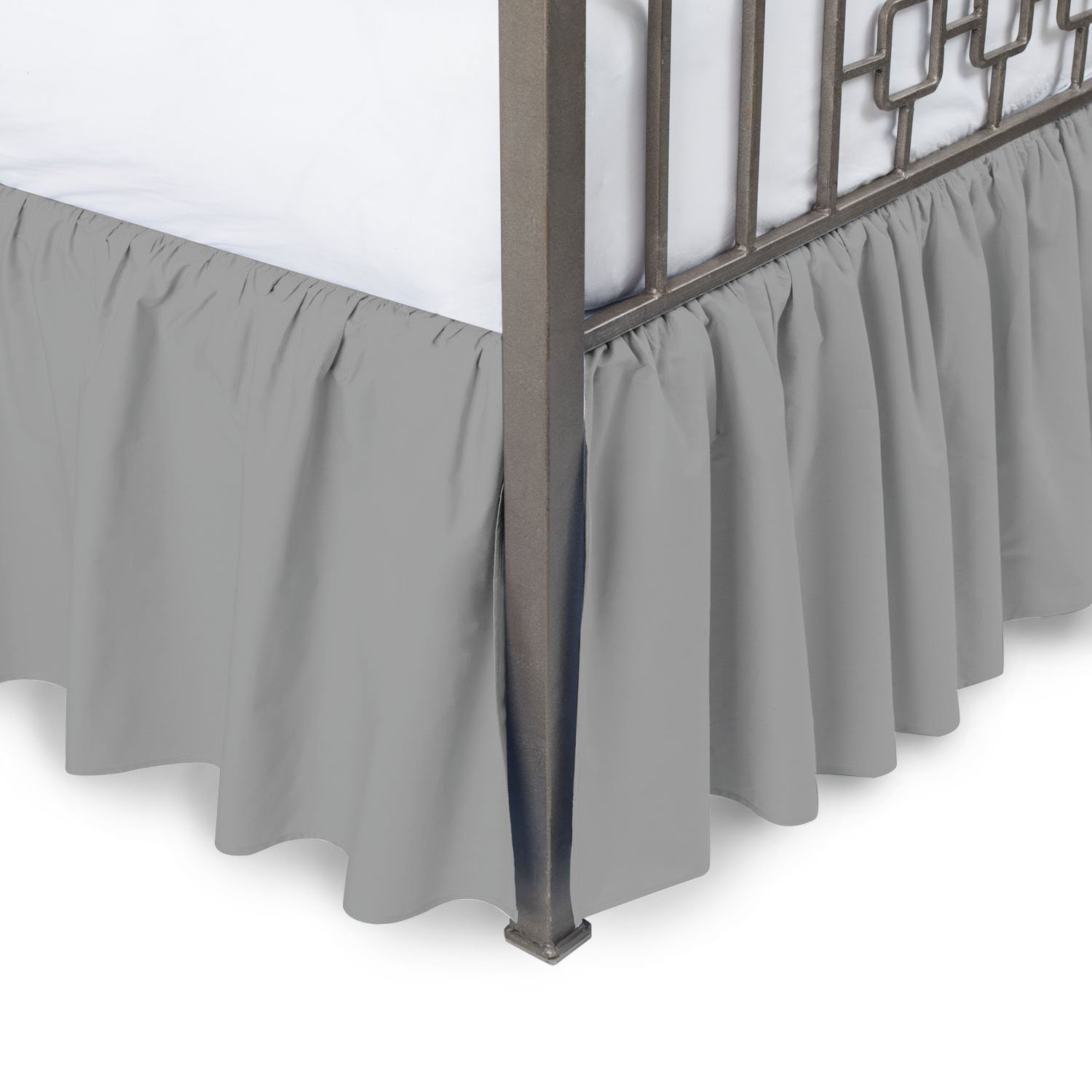Vivacious Collection Hotel Quality 800TC Pure Cotton Dust Ruffle Bed Skirt 27'' Drop length 100% Egyptian Cotton Silver Grey Twin XL Size
