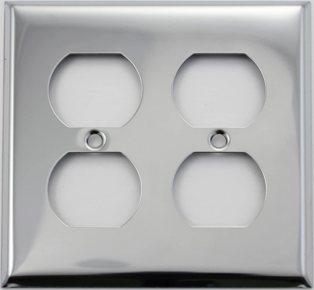 Polished Chrome 2 Gang Duplex Outlet Wall Plate 2 Duplex Switch Plates