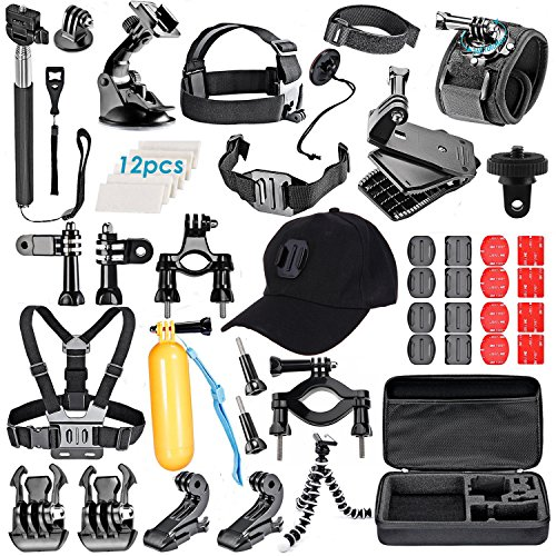 VanteexPro 58 in 1 Accessories Kit for Gopro Hero 6 5 4 3+ 3 2 1 AKASO EK7000 Camera Outdoor Sports Accessories Bundle Pack