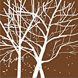 Sanbay Art Christmas Gift Modern Giclee Canvas Prints Artwork Contemporary Landscape White Tree on Brown Background Pictures to Photo Paintings Wood Framed Inside Wall Art for Wall Decor