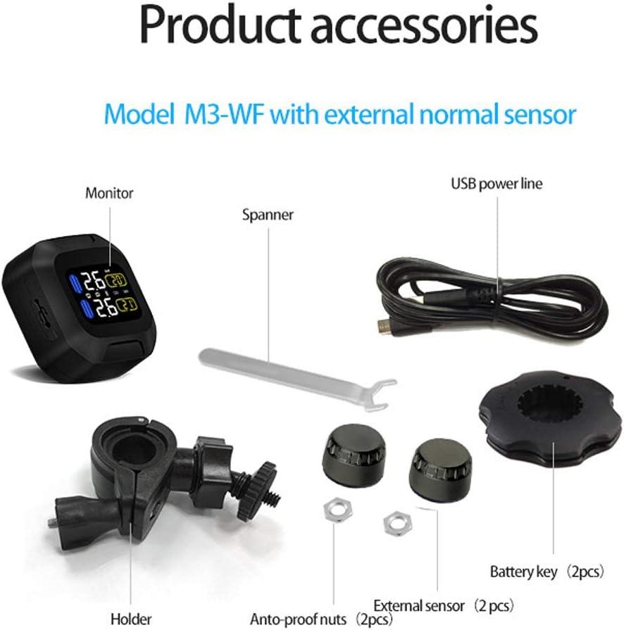 sensore esterno senza fili sistema di allarme per moto Sistema di monitoraggio della pressione dei pneumatici TPMS 2 XuBa M3 Moto display LCD