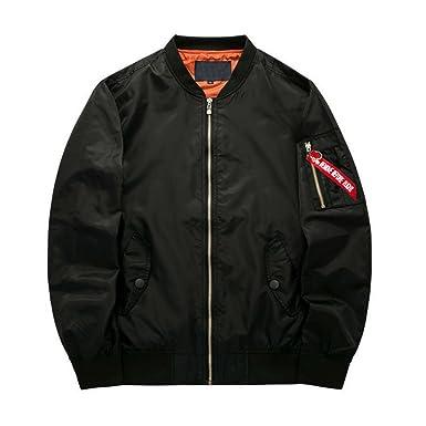 Hzcx Fashion Men's Zipper Up Casual Light Weight Flight Bomber ...