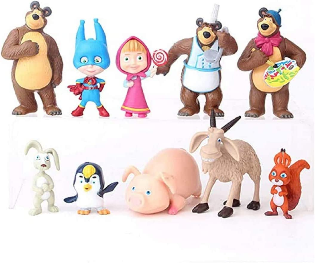 Masha and The Bear Playset 10 Pcs Cupcake Cake Toppers Party Favor 1-3 Tall Mini Figure Toys for Kids 10PCS Masha and The Bear Mini Figures