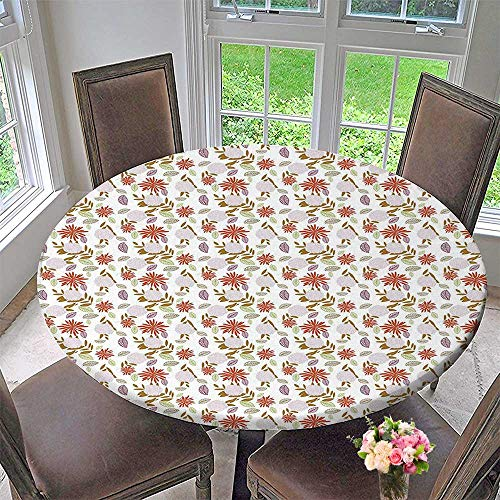 Mikihome Round Table Tablecloth Swirled Petals of Fresh Plants Bouquets Botany Ornamental Design for Wedding Restaurant Party 67