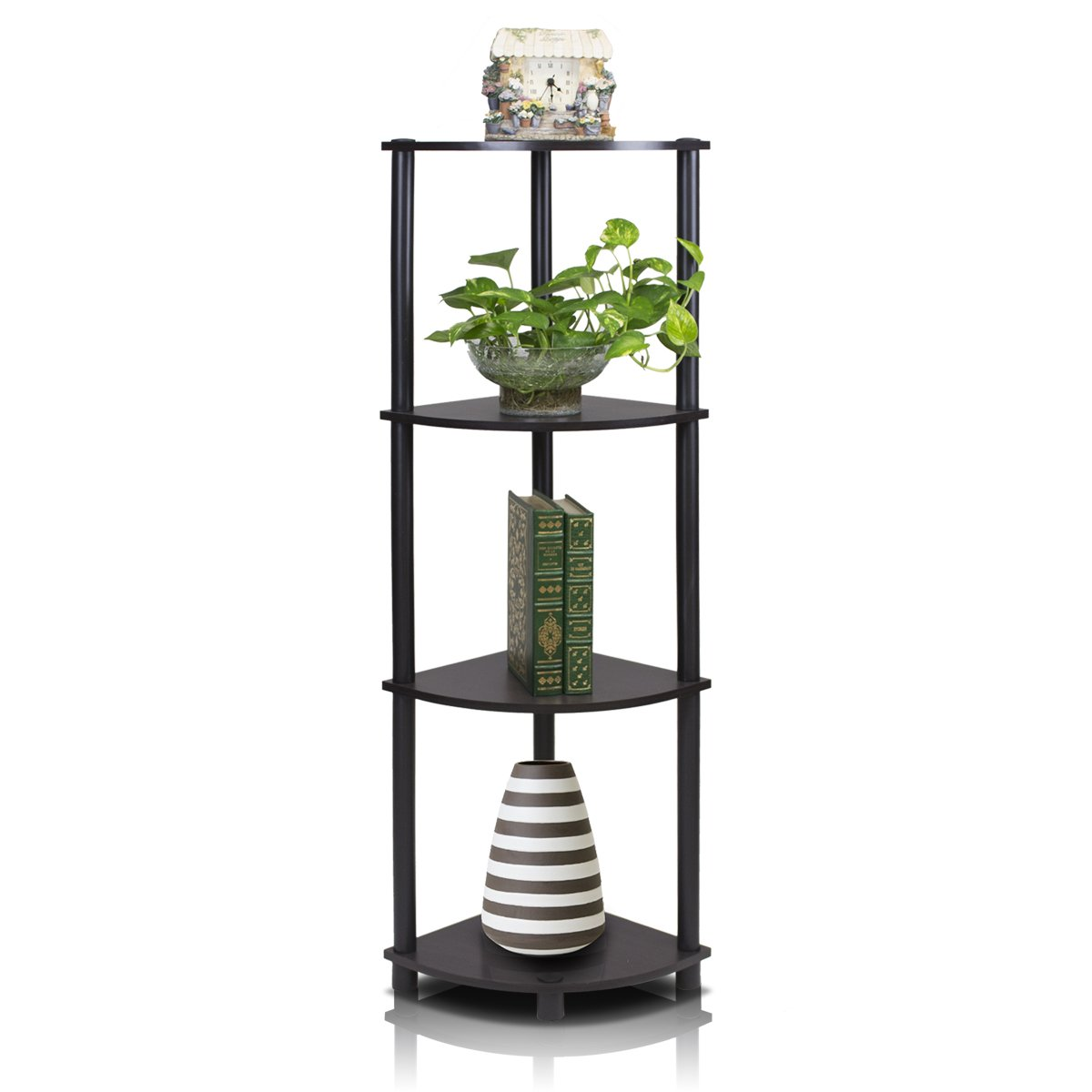 Furinno 12078 Ex/Bk Turn N Tube Multipurpose 4 Tier Corner Shelf, Espresso/Black by Furinno