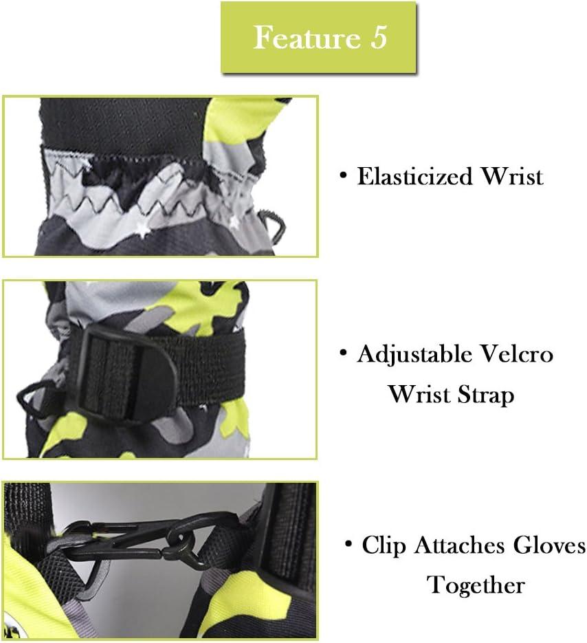 EVBEA Guanti Invernali Sci Antisdrucciolevole Snowboard Neve Ciclismo Impermeabile Antivento Moto Guanti Termici Caldi Lo Sci Snow Motoslitta per Donna e Uomo e Bambini
