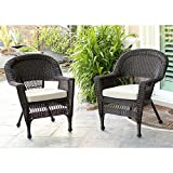 Jeco W00201_2-FS006-CS Wicker Chair with Tan Cushion, Set of 2, Espresso