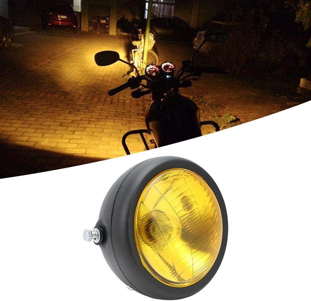 Gorgeri 12V Moto universal Impermeable Antipolvo Faros delanteros Faros delanteros de haz alto//bajo Lente amarilla concha negra