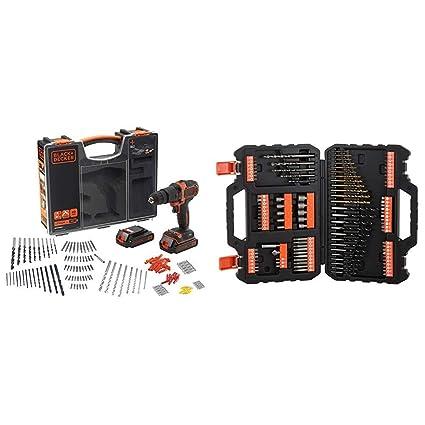 Black+Decker BDCHD18BOA-QW – Taladro/atornillador de percusión + BLACK+DECKER A7200-XJ - Juego de 109 piezas para atornillar y taladrar