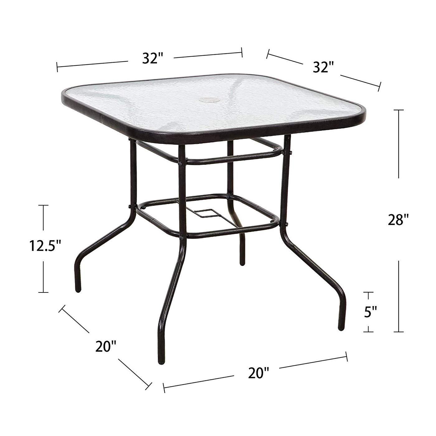 Amazon com wbbzd outdoor dining table terrace tempered glass table 32 terrace dining table with umbrella hole perfect garden deck lawn squaretable