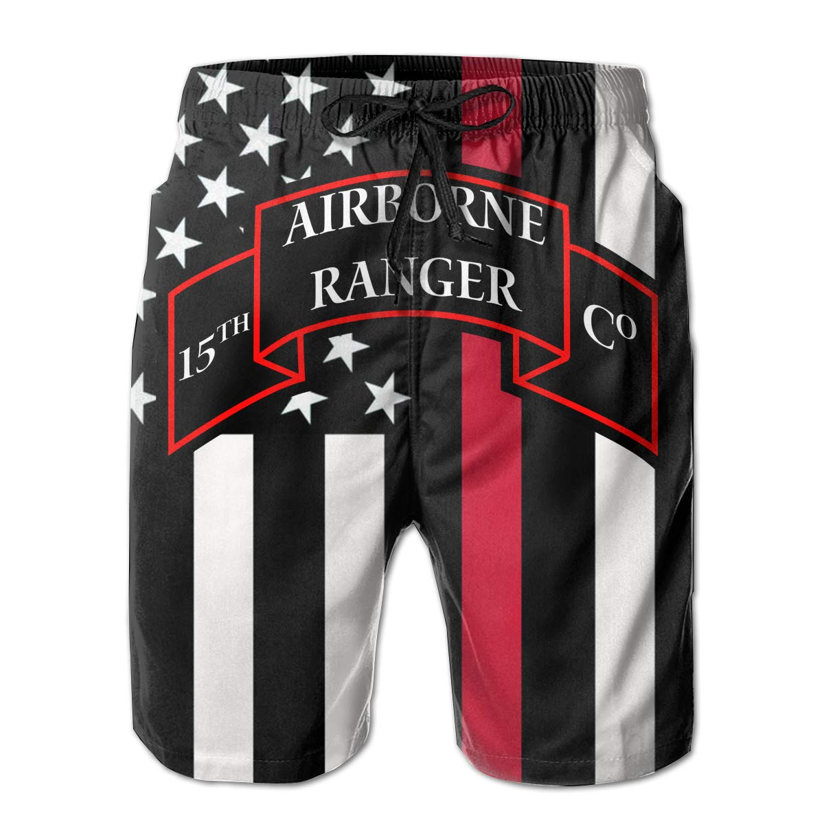 Hdecrr FFRE 15TH Airborne Ranger Company Mens Summer Casual Swim Trunks Shorts Quick Dry Swim Trunks with Pockets