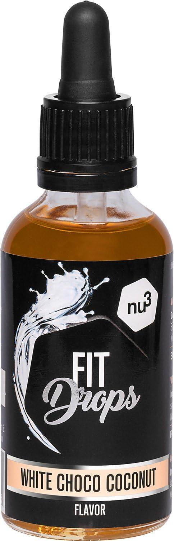 nu3 Fit Drops (gotas aromáticas) - 50ml de aroma líquido - Sabor chocolate blanco & coco - Alternativa sin calorías, sin azúcar y sin gelatina - Ideal ...