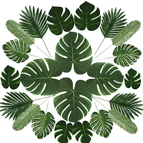 72 Pcs 6 Kinds Artificial Palm Leaves Tropical Plant Faux Leaves Safari Leaves Faux Monstera Leaves Hawaiian Luau Party Suppliers Decorations,Tiki Aloha Jungle Beach Birthday Table Leave Decorations A (Tall Bookshelves Foot 8)