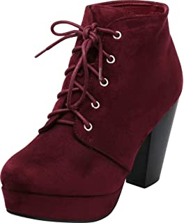 c040702490 Cambridge Select Women's Lace-Up Platform Chunky Stacked Heel Ankle Bootie