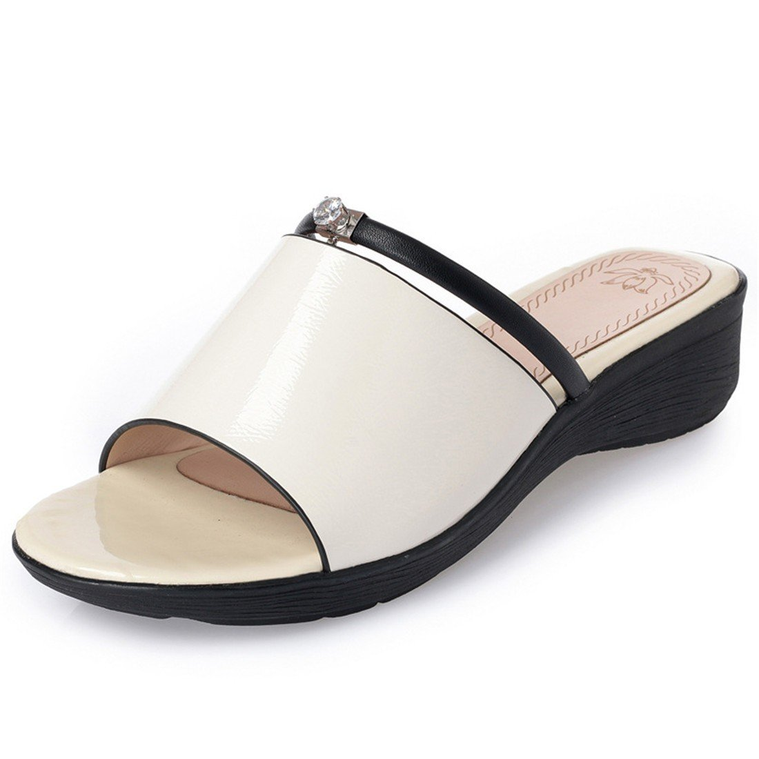 Damas Sandalias, Fondo Grueso Zapatillas, Gran Mollete Zapatos, Zapatos de Playa,Blanco,Treinta y Siete US6.5-7 / EU37 / UK4.5-5 / CN37|white