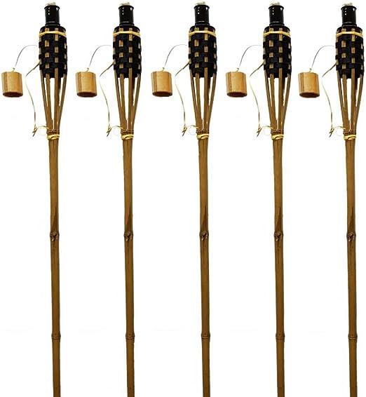 K & F 48 unidades bambú Antorchas de jardín 120 cm Butt marrón con Negro, aceite,