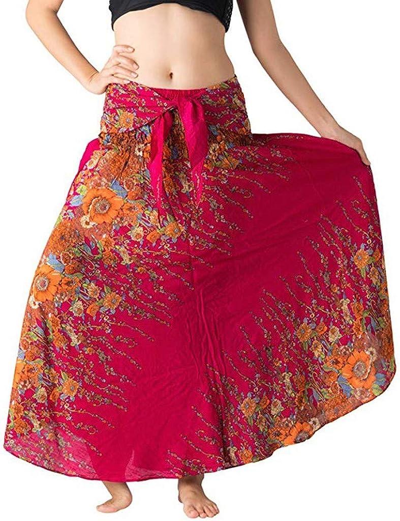 Moda Mujer Larga Flor Hippie Bohemio Gitano Boho Arco Arco Una Palabra Falda elástica Cintura Flor Espalda Falda