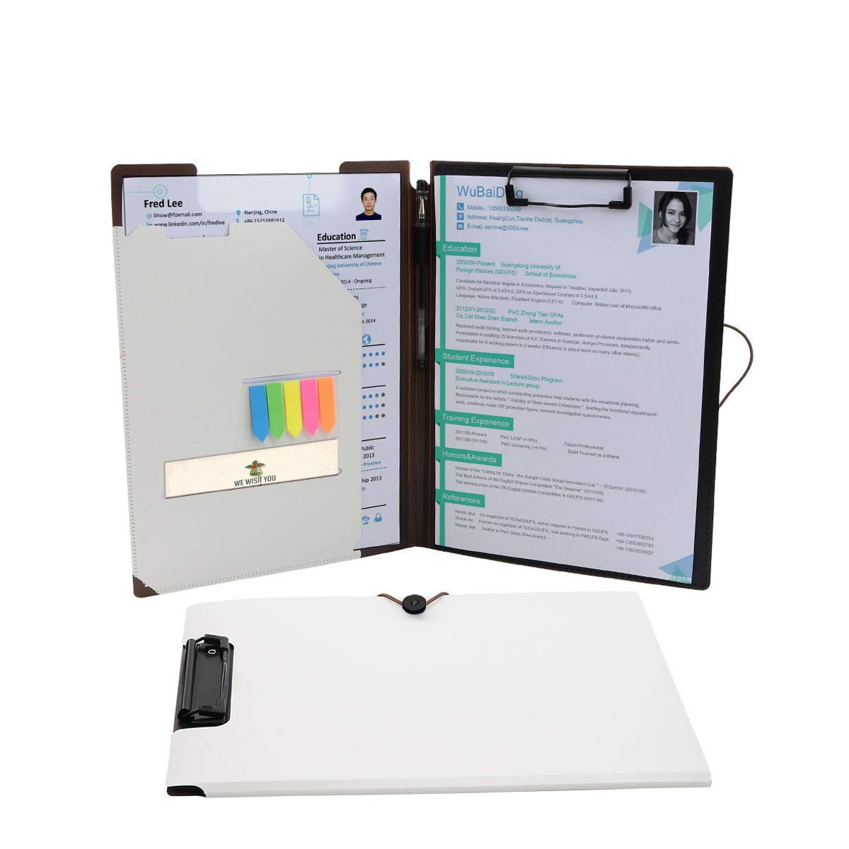 Padfolio Portfolio Clipboard Folders, Kakbpe Bussiness Letter Size Padfolio with Refillable Notepads, Give a Total of 100 Note Page Markers in Five Colors(2 Pack, White)