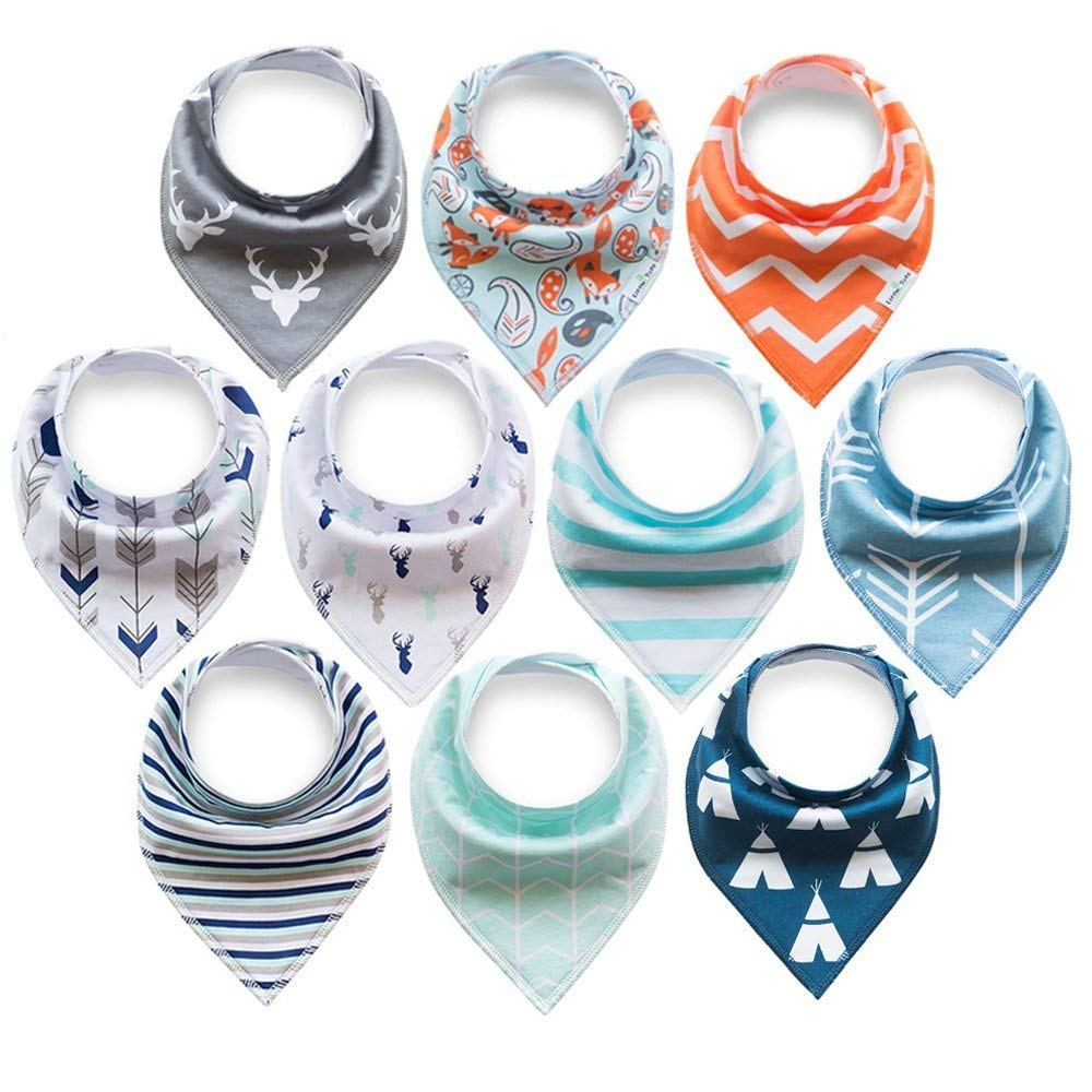 Baby Bandana Drool Bibs, for Girls and Unisex- 100% Organic Cotton, Super Absorbent, Soft and Modern - Best Baby Shower Gift (10 Pack)