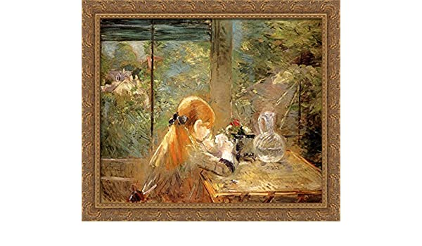 db4676dd05cd Amazon.com  Red haired Girl Sitting on a Veranda 34x28 Large Gold Ornate  Wood Framed Canvas Art by Berthe Morisot  Posters   Prints