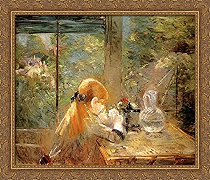 cb5678ac3889 Image Unavailable. Image not available for. Color  Red haired Girl Sitting  on a Veranda 34x28 Large Gold Ornate Wood Framed Canvas Art by