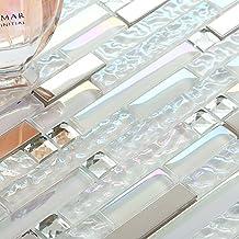 Sample Tile New Design TST Glass Metal Tile Iridescent White Glass Silver Mirror Stainless Steel Blends Interlocking Strip Wall Tiles (1 Sample [4''x12''])