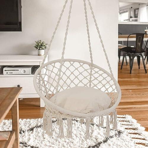 Patio Watcher Hammock Chair Hanging Macrame Swing with Cushion and Hardware Kits