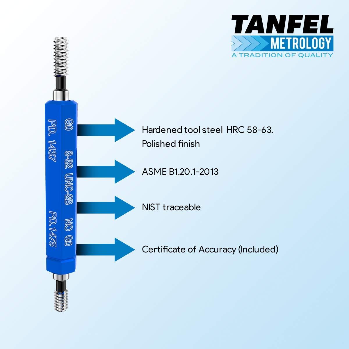 Tanfel #8-32 UNC-2B Taperlock GO NOGO Thread Plug Gage Certified Gauge