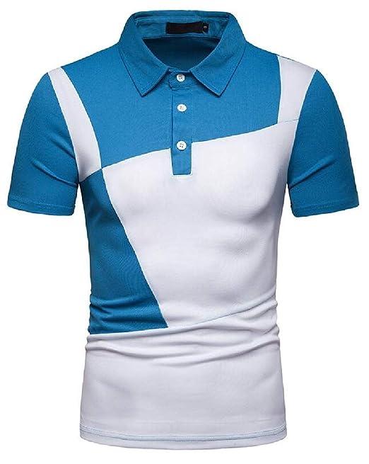 2960909f Hmarkt Men Summer Slim Fit Short Sleeve Color Block Loose Golf Polo Shirt  Blue L