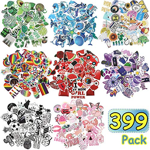 🥇 399 Pieces Mixed Stickers for Water Bottles Cute Stickers for Water Bottles Waterproof Vinyl Stickers Travel Trendy Stickers Skateboard Luggage Laptop Stickers for Teens Girls