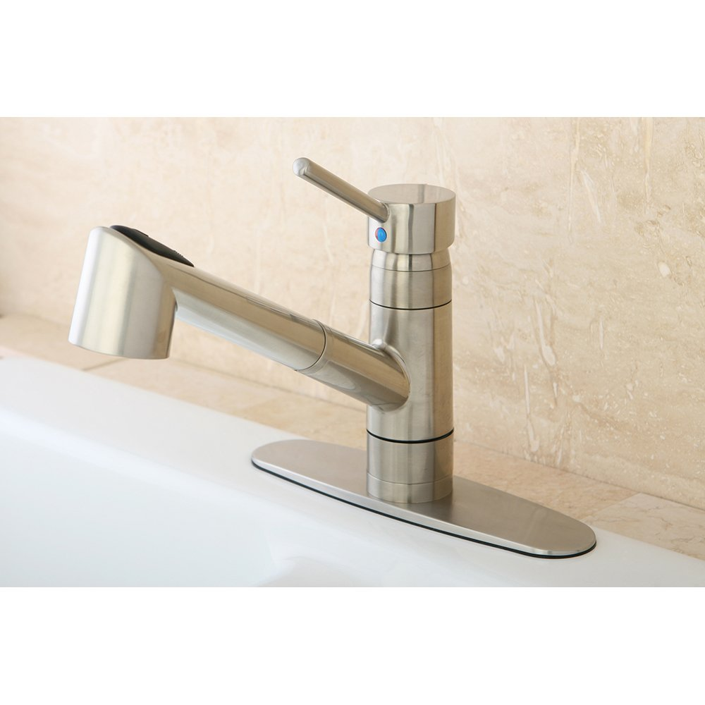 kingston brass gs8578wdl wilshire 8 inch centerset single handle kingston brass gs8578wdl wilshire 8 inch centerset single handle kitchen faucet with pull out sprayer 8 3 4 inch in spout reach satin nickel touch on