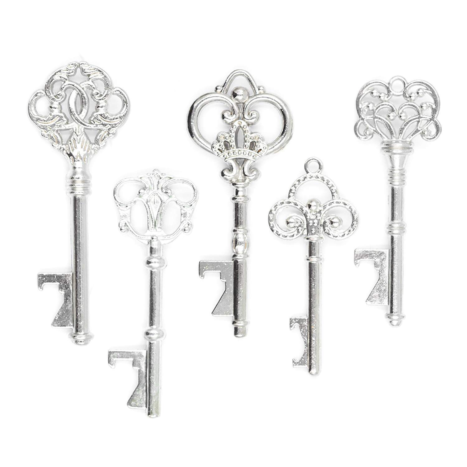 50 Key Bottle Openers, Assorted Vintage Skeleton Keys, Wedding Party Favors (Antique Gold) Ella Celebration