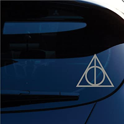 """Yoonek Graphics Deathly Hallows Inspired Harry Potter 5"""" Height Decal Sticker for Car Window, Laptop, Motorcycle, Walls, Mirror and More. SKU: 467 (Metallic Silver): Automotive"""