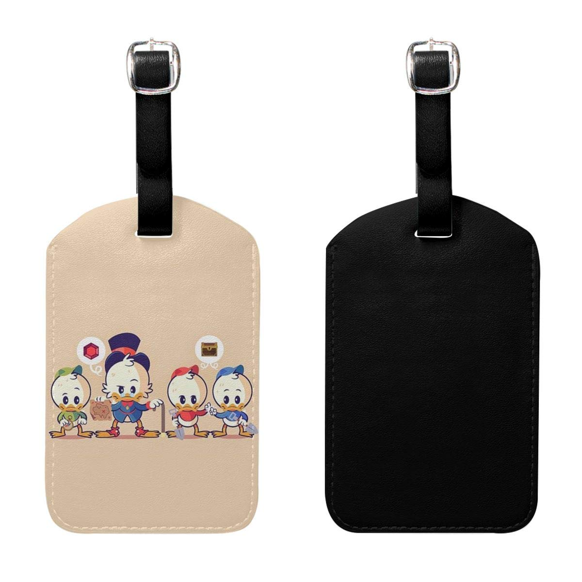 Set of 2 PU Leather Luggage Tags Cute Donald Duck Suitcase Labels Bag Adjustable Leather Strap Travel Accessories