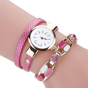 Relojes Pulsera Mujer ❤ Amlaiworld Reloj niña Reloj de brazalete de diamantes de señoras Mesa de moda para estudiantes reloj mujer deportivo (rosa ...