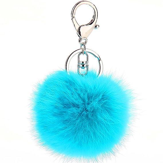 JewelBeauty Imitated Rabbit Fur Ball Pom Pom Key Chain Faux Fur Keychain with Plush for Car Key Ring or Handbag Bag Decoration Pendant Purse Charm (Sky Blue)