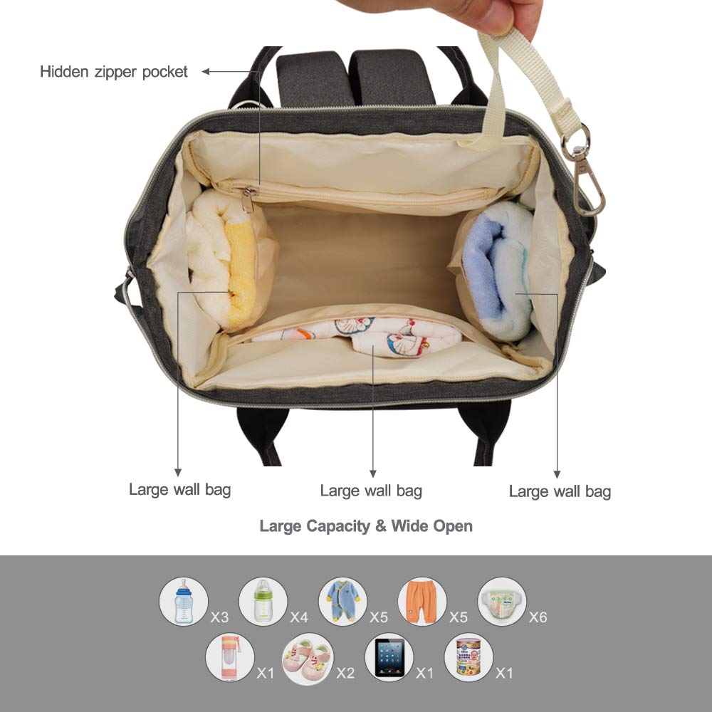 Large Capacity Multi-Function Waterproof Insulated Travel Tote Changing Nappy Bag for Mom /& Dad Black HEYI Baby Diaper Bag Backpack with Stroller Straps