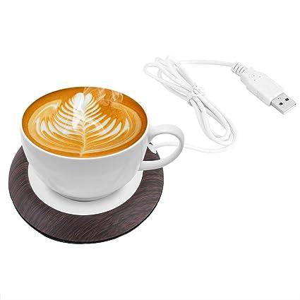 2eb2dc4699 5W USB Cup Warmer Heat Beverage Mug Mat Office Tea Coffee Heater Pad Bright  Wood Grain