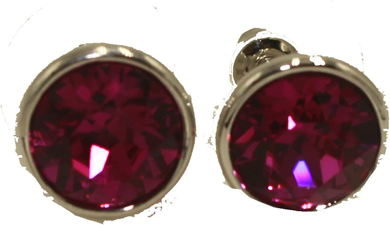 Swarovski Elements Fuschia Bella - Pendientes de tuerca, chapados en rodio, color rosa