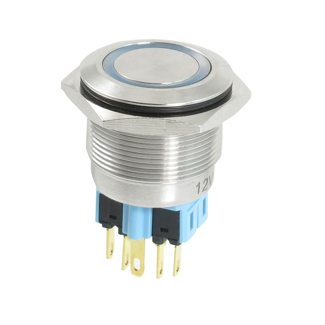 Uxcell a13040500ux0158 uxcell DC 12V Blue LED 25mm Stainless Steel Locking Push Button Switch DPDT