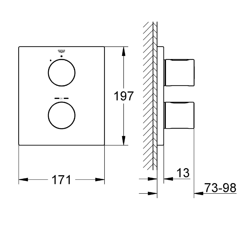 GROHE 19568000 Grohtherm Cube /& Rainshower Shower Set chrome