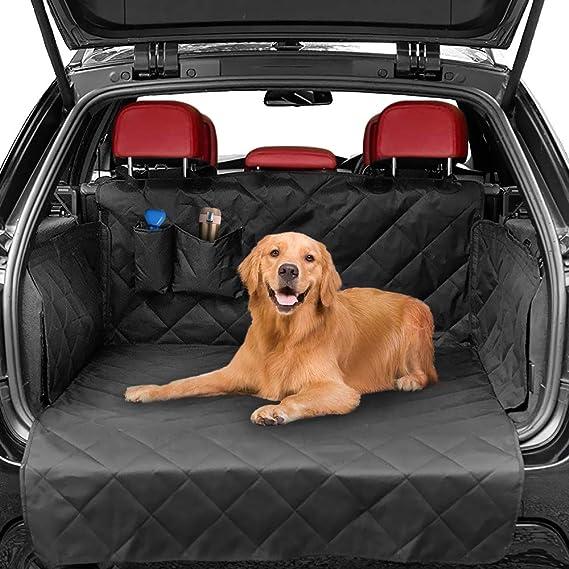 Zwini Universal Kofferraumschutz Hunde Auto Kofferraumdecke Ideal Für Hund Kofferraumschutzmatte Mit Seitenschutz Stoßstangenklappe Klettverschluss Saugnäpfe Mit Zwei Taschen Für Kofferraum Haustier