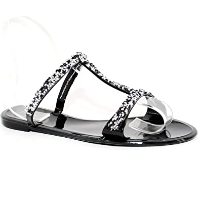 TRENDSup Collection Women Summer Bling Open Toe Jelly Sandal Flat Shoes  B079H92JW2